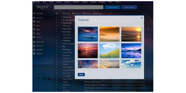 Yahoo Mail nach dem Update: mit Flickr-Themes
