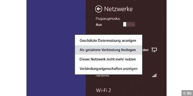 WLAN-Sparmodus unter Windows 8