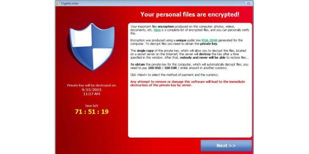 CryptoLocker-Fenster