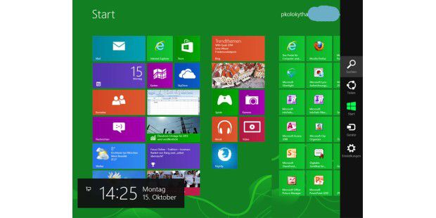 Windows 8: Rechte Seitenleiste (Charms)