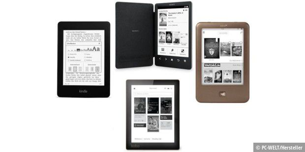 Vier Ebook-Reader im Test: Der Kindle Paperwhite 2 (links), der Kobo Aura (unten), der Tolino Shine 2 (rechts) und der Sony PRS T3 als einziges Gerät ohne Display-Beleuchtung (oben).