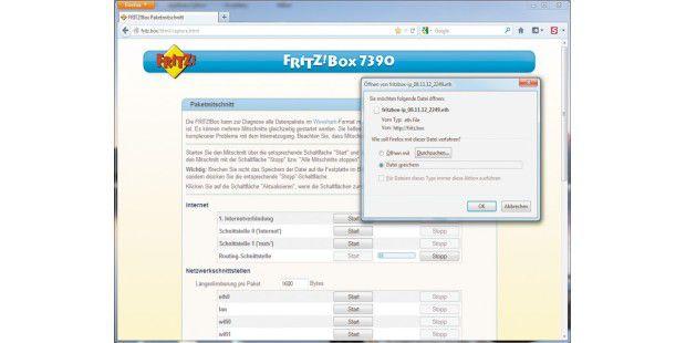 Geheime Router-Funktion nutzen: Über einenundokumentierten Aufruf der Fritzbox-Bedienerführung können Sie dengesamten Datenverkehr mitschneiden und auf der Festplatte Ihres PCsspeichern.