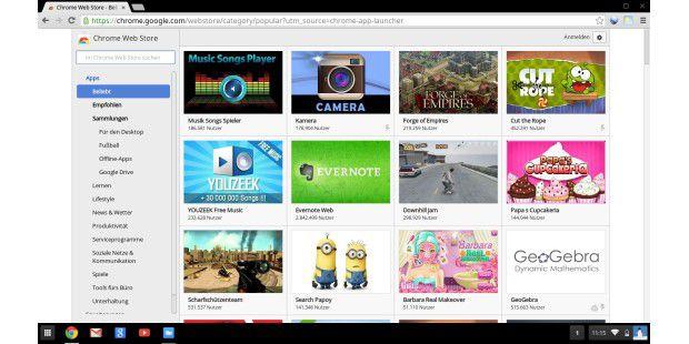 Programme für das Chromebook bekommen Sie nur imChrome-OS-Store