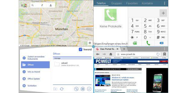 Multi-Window ermöglicht bis zu vier Apps gleichzeitig aufdem Bildschirm