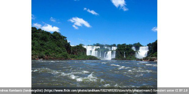 Iguazu falls in the distance