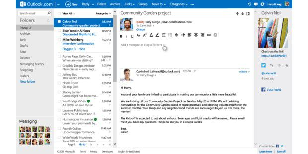 Neue In-line-Reply-Funktion in Outlook.com