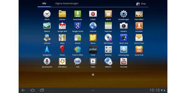 Das App-Angebot auf dem Samsung Galaxy Tab 10.1