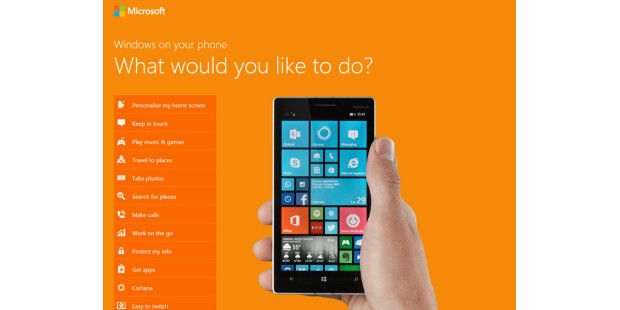 Lumia-Emulator auf der Nokia-Website