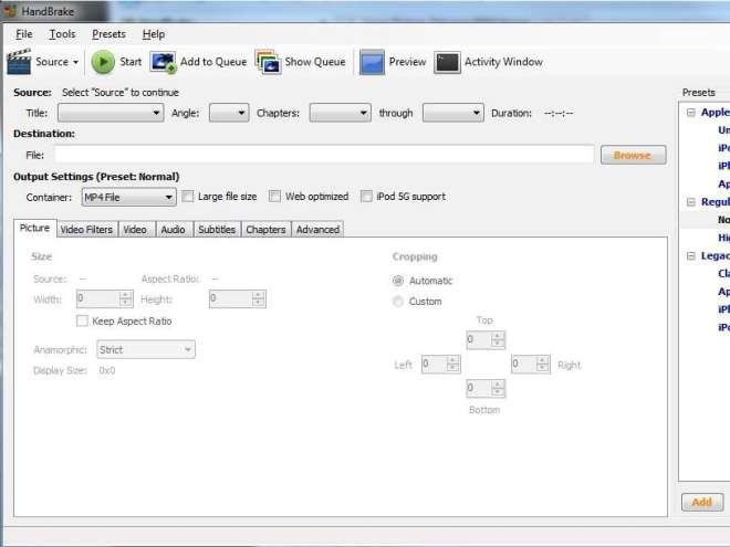 how to use handbrake to convert video for ipad