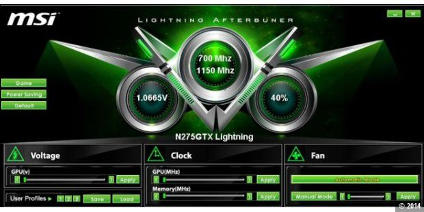 Übertaktungs-Tool MSI Lightning Afterburner: Game-Profil der MSI N275GTX Lightning