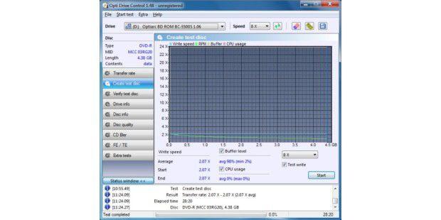Nexoc Nettop ION 330: SchreibgeschwindigkeitDVD-R