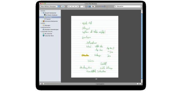 Aufzeichnung eines Pencasts im Archiv. Die Texterkennungder Notizen erstaunt selbst Benutzer mit nachlässigerHandschrift.