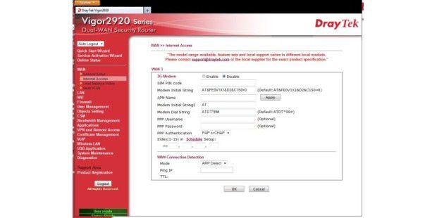 UMTS-Konfiguration des Draytek Vigor 2920