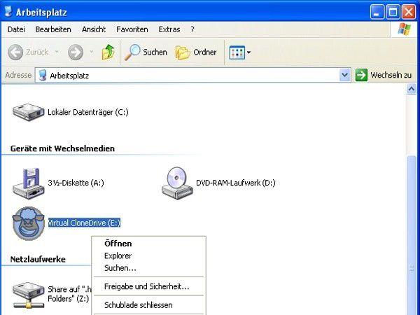 nrg datei mit virtual clone drive Schritt 4: mit einem klick auf die rechte maustaste kommen sie in das kontextmenü von virtual clonedrive hier können sie die image-datei in das virtuelle laufwerk laden (oder später wieder entnehmen.