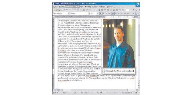 Bildunterschriften für frei positionierte Grafiken müssenmit Textrahmen eingefügt werden – was einige Probleme mit sichbringt