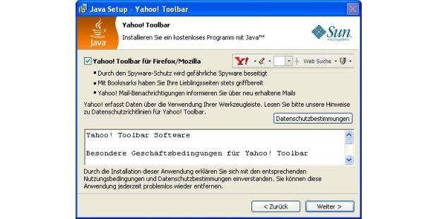 Java Update mit Yahoo Toolbar