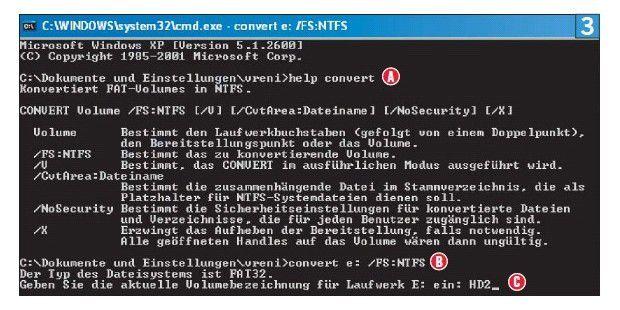 Befehl B wandelt Laufwerk E: in NTFS um