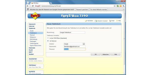 Die Fritz!Box kann jetzt Telefonbücher auch über dasInternet synchronisieren, beispielsweise mit Google.