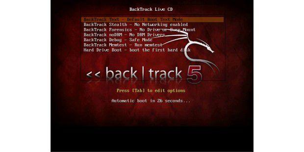 """Fertig zum Start: Das Bootmenü von BackTrack Linux bietetunter anderem einen """"Stealth""""-Modus ohne Netzwerk"""