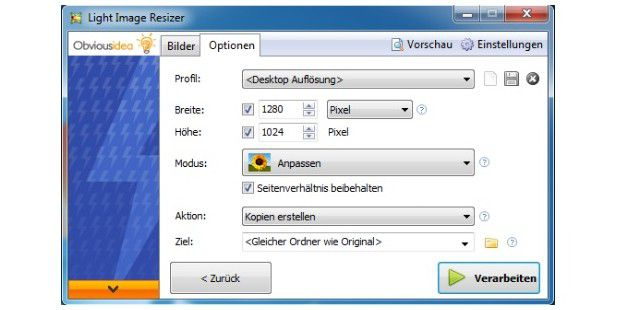 Bildbearbeitung: Light Image Resizer