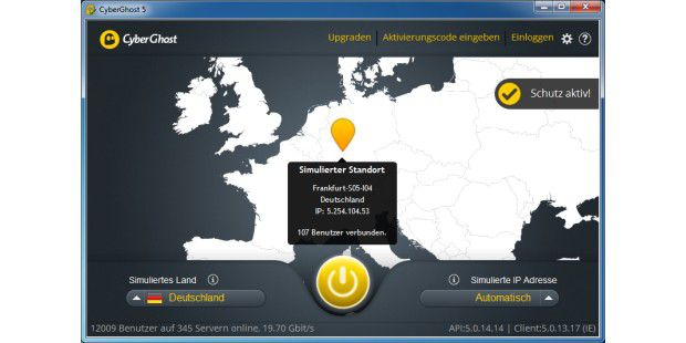 Cyberghost VPN 5 Hauptfenster