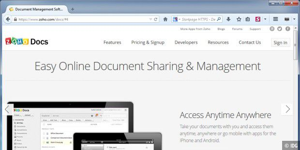 "Online-Office ""Zoho Docs"""