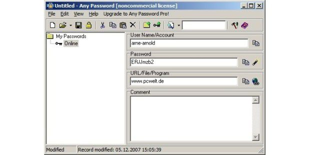Any Password 1.44 - generiert und verwaltet Passwörter