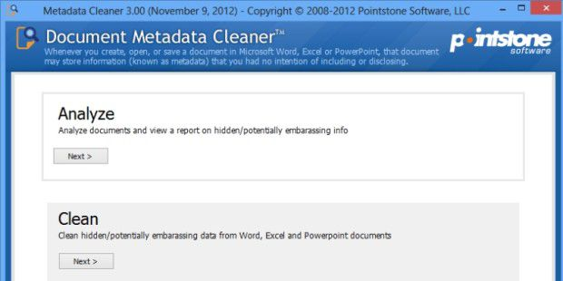 Document Metadata Cleaner entfernt alle Metainformationen.