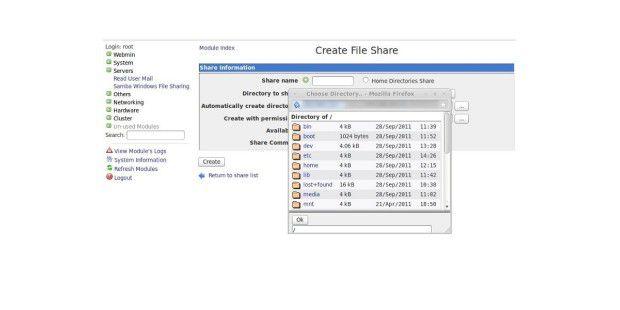 Freigabe: Via Webmin können Sie bequem Freigaben für Sambaerstellen. Danach ist der Zugriff mit Windows auf den Linux-Servergarantiert.