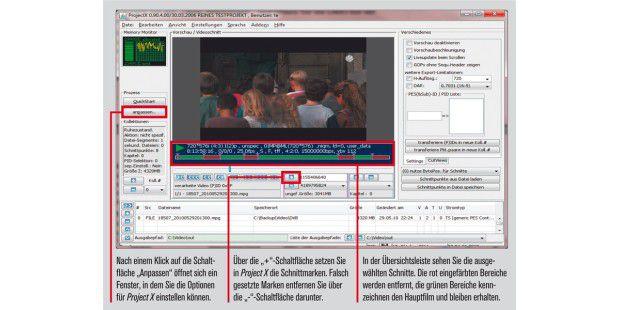 Mit Project X können Sie Videos schneiden, die einenMPEG-2-Stream enthalten.
