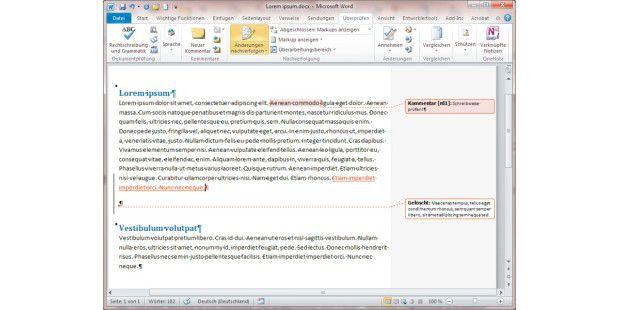 """Bevor Sie in Word 2010 einen Text überarbeiten, gehen Sieauf die Registerkarte """"Überprüfen"""" und klicken dann auf """"Änderungennachverfolgen"""". Jetzt können Sie alle Hinweise und Kommentarenachverfolgen."""