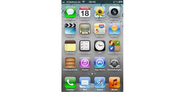 Hohe Auflösung beim iPhone 4S bei 3,5 ZollBild-Diagonalen.