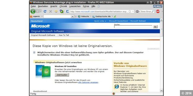 Windows Genuine Advantage Validation ist der Türsteher zum Download-Server von Microsoft