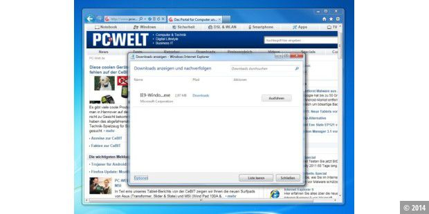 Der neue Download-Manager im IE9
