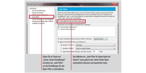 """Junk-Filter"" Einstellungen bei Firefox."