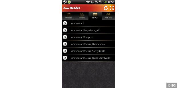 "Android-App ""ezPDF Reader"""
