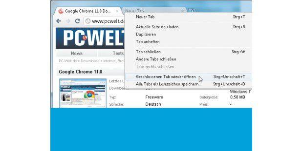 """Im Tab-Verwaltungsmenü – hier das von Google Chrome –lassen sich mit einem Klick auf """"Geschlossenen Tab wieder öffnen""""zuvor geschlossene Internetseiten erneut laden."""