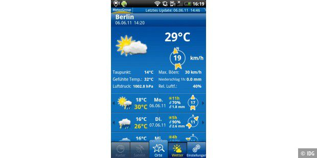 "Android-App ""WeatherPro"""