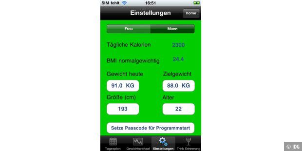 "iPhone-App ""Diät Profi"""