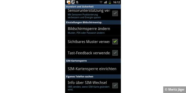 Android bietet wahlweise PIN, Muster oder Passwort