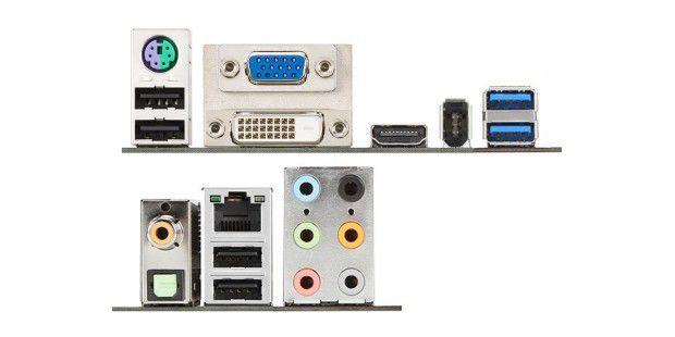 Anschlussbuchsen einer Hauptplatine für externe Geräte(von links nach rechts): obere Reihe mit PS/2 (kombiniert fürTastatur oder Maus) und 2 x USB 2.0&#x3B; D-Sub und DVI-I (analoges unddigitales Bild)&#x3B; HDMI (digitales Bild und Ton) &#x3B; Firewire&#x3B; 2 x USB3.0 untere Reihe mit koaxialem und optischem SPDIF (digitaler Ton)&#x3B;LAN und 2 x USB 2.0&#x3B; 6 x Audio (analoger Ton mit 7.1-Ausgang undeinem Eingang)