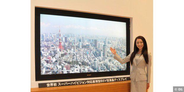 sharp stellt 85 zoll lcd tv mit 7680 x 4320 pixel vor pc. Black Bedroom Furniture Sets. Home Design Ideas
