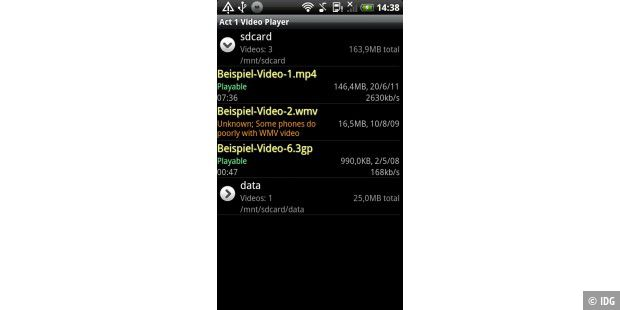 "Android-App ""Act 1 Video Player"""