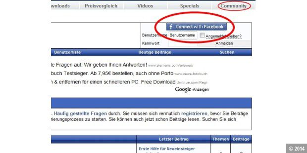 Neuer Button: Connect with Facebook
