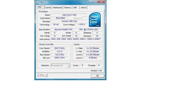 Core i7 920 im Überblick: CPU-Z zeigt alle wichtigenFunktionen