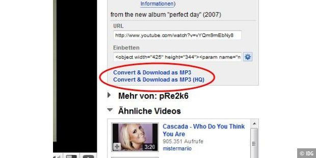 Youtube to MP3 per Plug-In