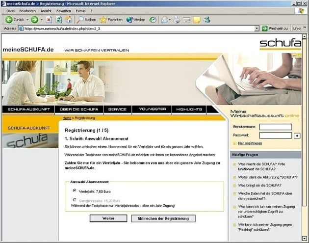 www.schufa.de login