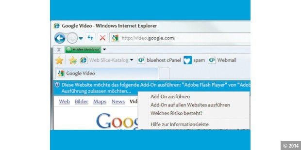 Der versteckte Flash-Blocker im Internet Explorer 8.