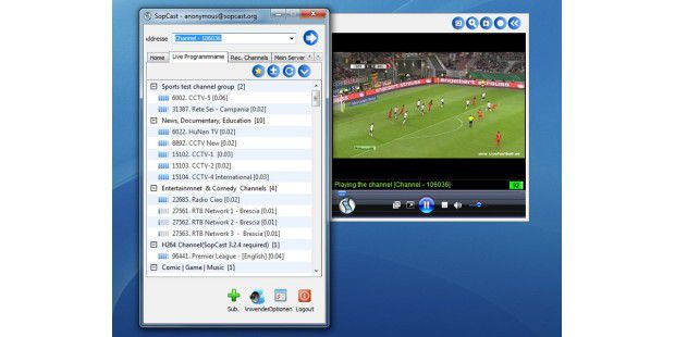 Das Gratis-Streaming-Programm SopCast nutzt den Windows Media Player, um die Streams abzuspielen.