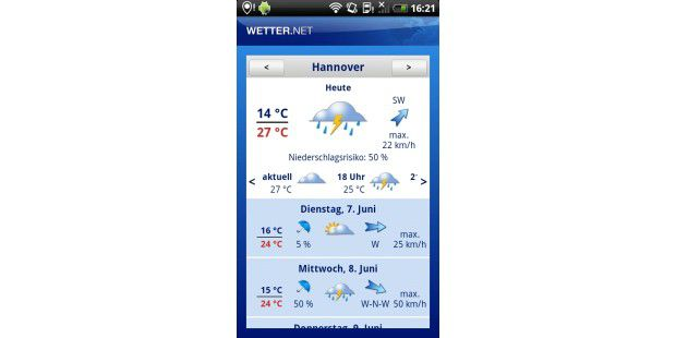 "Android-App ""Wetter.net"""